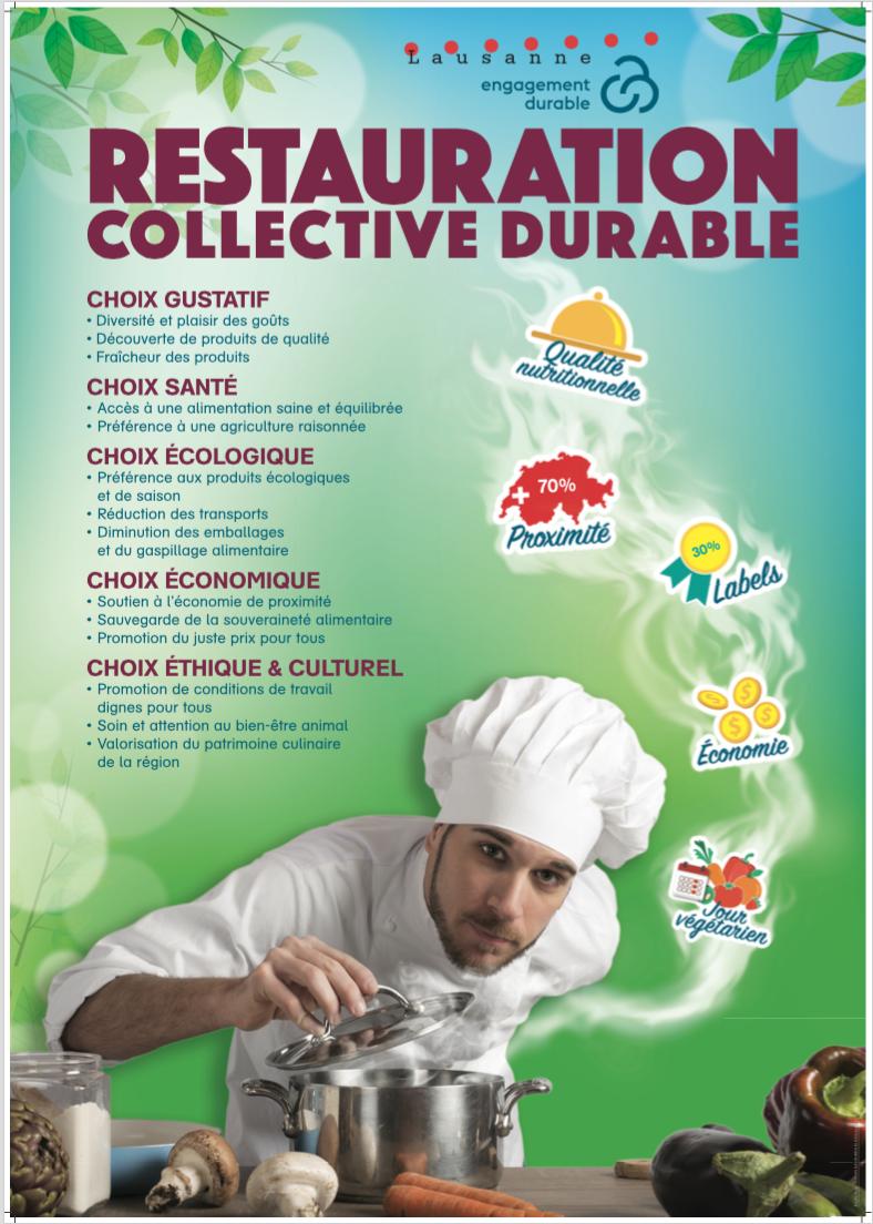 Plan Restauration collective durable, plan directeur Ville de Lausanne, affiche choisie, 2017